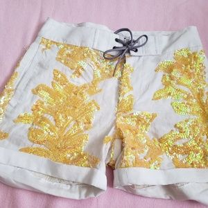 J crew white shorts with yellow sequence